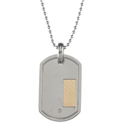Steel and 18k Gold Diamond Dog Tag Necklace