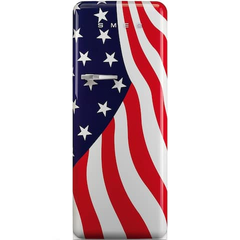 Smeg 24 inch 50s Style Refrigerator with ice compartment US Flag Right Hinge
