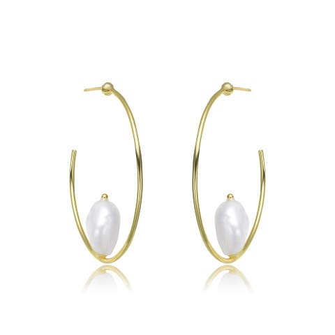 Collette Z Sterling Silver Freshwater Pearl Hoop Earrings