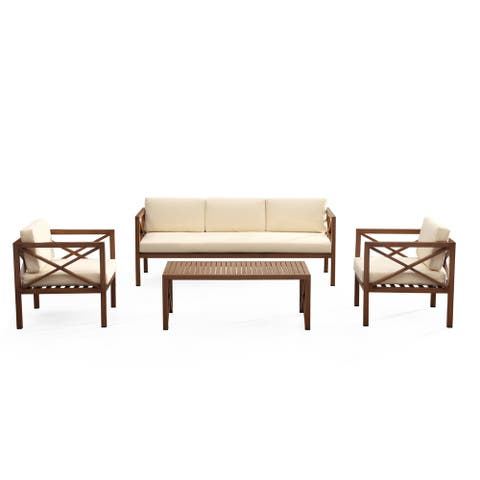 Kingsbay Contemporary Modern Outdoor Conversation Set with Weather Proof Cushions