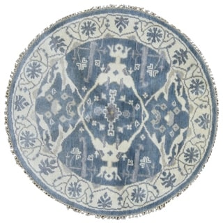 """FineRugCollection One-of-A-Kind Fine Oushak Oriental Round Rug - 4'1"""" x 4'1"""""""