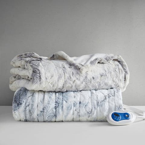 Beautyrest Marselle Oversized Marble Faux Fur Heated Throw