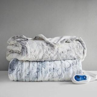 Marble Faux Fur Heated Throw