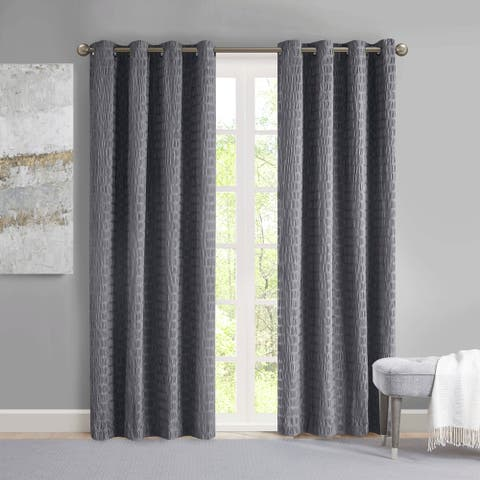 Madison Park Bassi Crinkle Matte Satin Single Curtain Panel