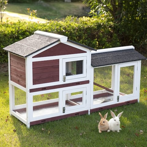 Kinpaw Outdoor Rabbit Hutch with Run, Bunny Cage Guinea Pig Pet House with Removable Tray