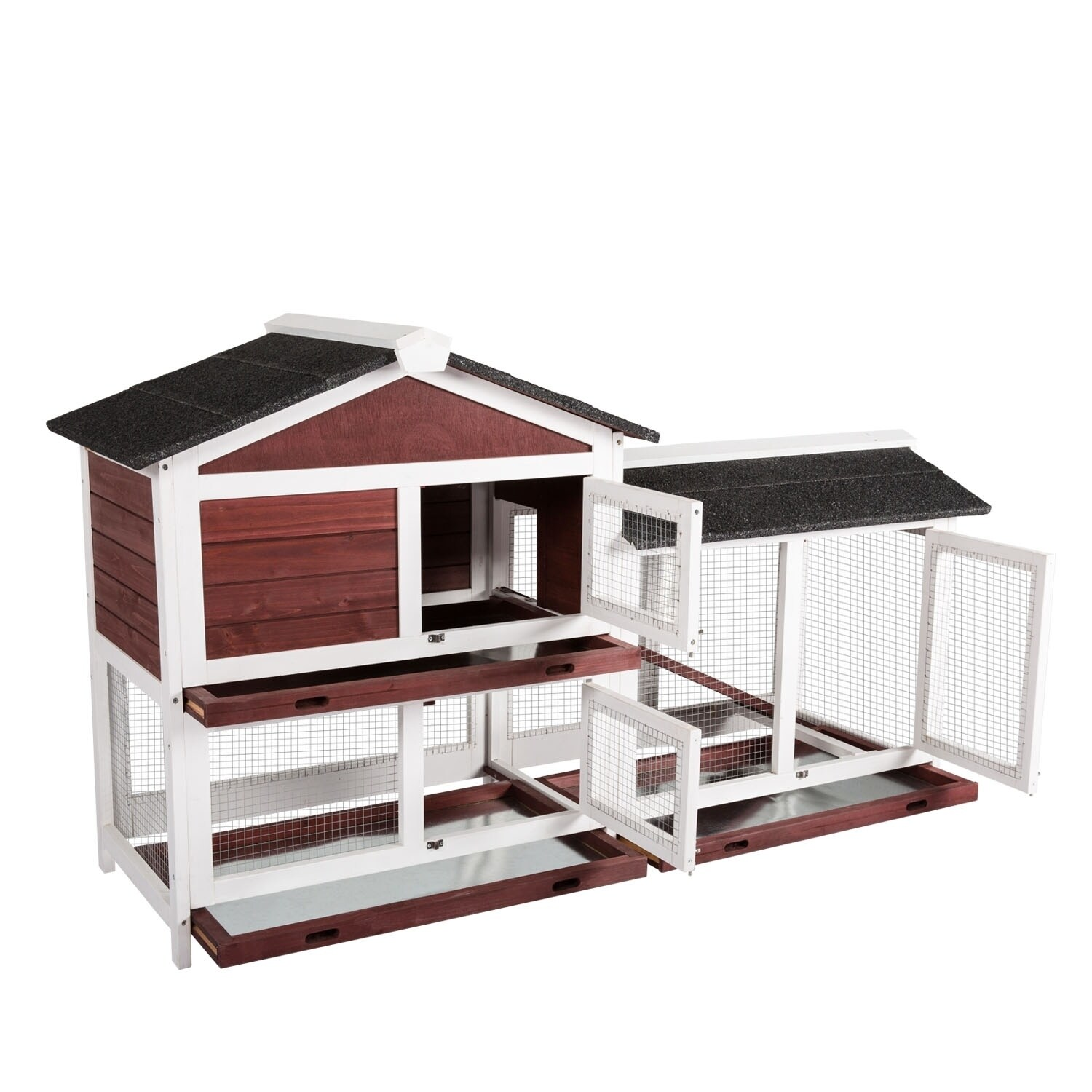 Kinpaw Outdoor Rabbit Hutch With Run Bunny Cage Guinea Pig Pet House With Removable Tray On Sale Overstock 29964425 Black1