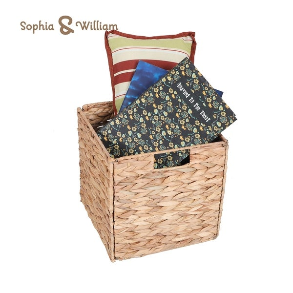"""Sophia&William Foldable Handwoven Water Hyacinth Cube Storage Basket with Handles - 10.6"""" L x 10.6"""" W x 11"""" H"""