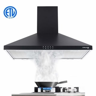 """Gasland Chef PR30BP 30"""" Wall Mount Stainless Steel Range Hood in Black, Push Button Control and Aluminum Filter, 2 LED Lamp"""