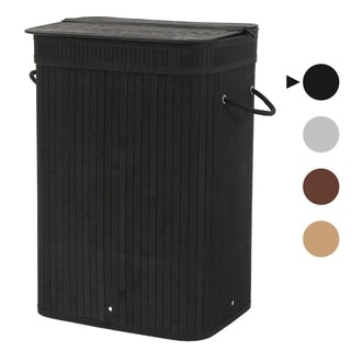Sophia and William Laundry Hamper 72L Dirty Clothes Bamboo Storage Basket with Lid Liner and Handles Rectangular