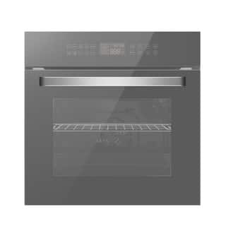 Empava 24 in Electric Convection Single Wall Oven with ROTISSERIE Touch Control in Silver Mirror Glass EO-C17