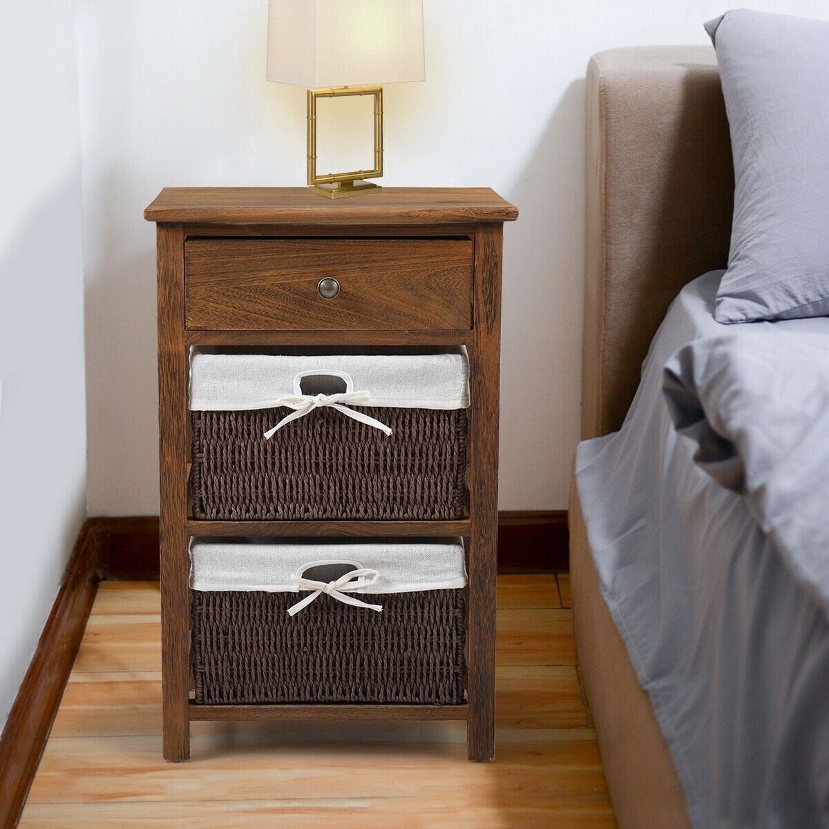 2 Layer End Side Bedside Table Nightstand Organizer