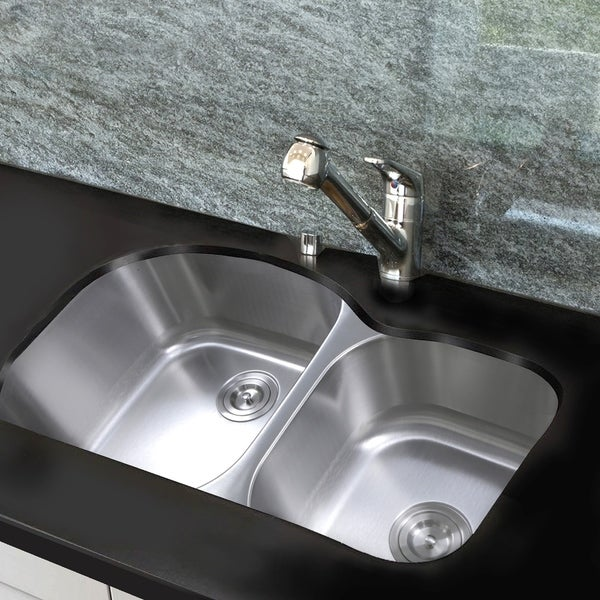 35 Inch Undermount Stainless Steel Double Bowl Kitchen Sink - 35 x 20 x 10 inches. Opens flyout.