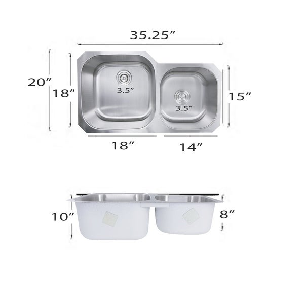 35 Inch Undermount Stainless Steel Double Bowl Kitchen Sink - 35 x 20 x 10 inches