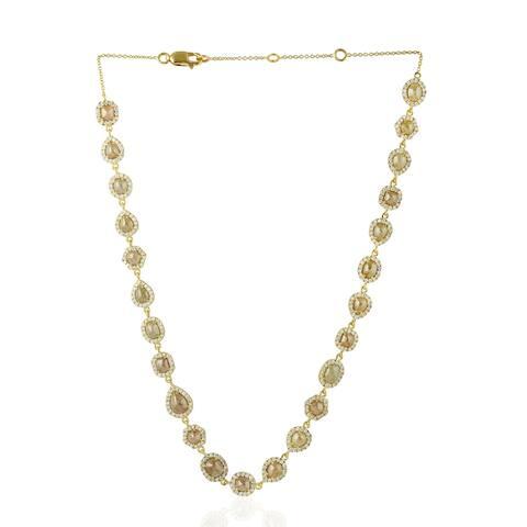18Kt Gold Diamond Choker Necklace Ice Diamond Jewelry With Jewelry Box