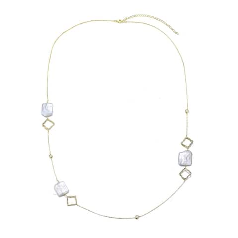 Collette Z Sterling Silver Freshwater Pearl Station Necklace
