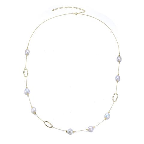 Collette Z Classy Sterling Silver Freshwater Pearl Station Necklace