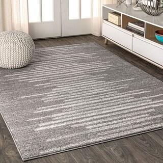 Aya Berber Stripe Geometric Gray/Cream Area Rug