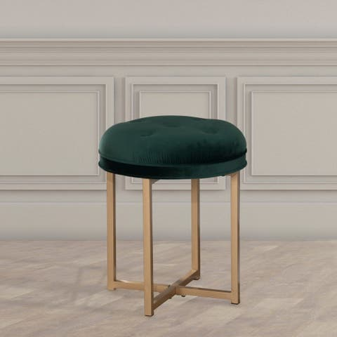 Silver Orchid Valerian Tufted Backless Metal Vanity Stool