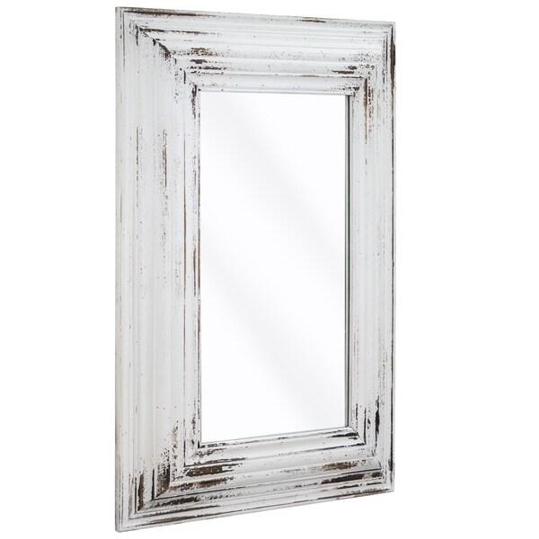 """Vintage Whitewashed Wood Wall Vanity Mirror (27"""" x 39"""")"""