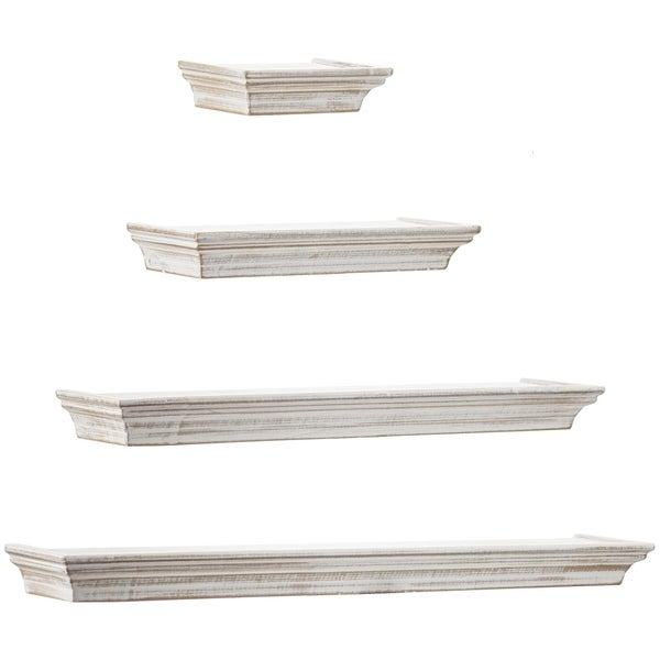 Floating Shelves with Crown Molding - Whitewashed - Set of 4