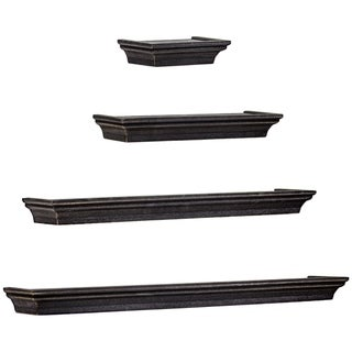 Link to The Gray Barn Norwich Black Floating Shelves with Crown Molding (Set of 4) Similar Items in Accent Pieces