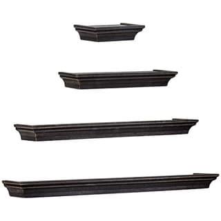 Floating Shelves with Crown Molding - Black - Set of 4