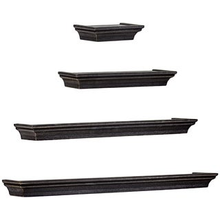 Floating Shelves with Crown Molding - Black - Set of 4