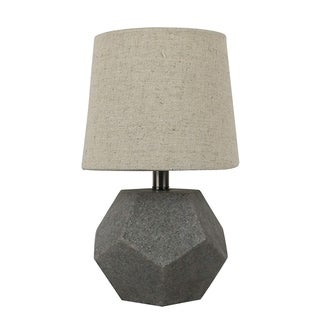 Urbanest Roccio 10-inch Accent Table Lamp in Natural Stone Finish with Light Linen Shades