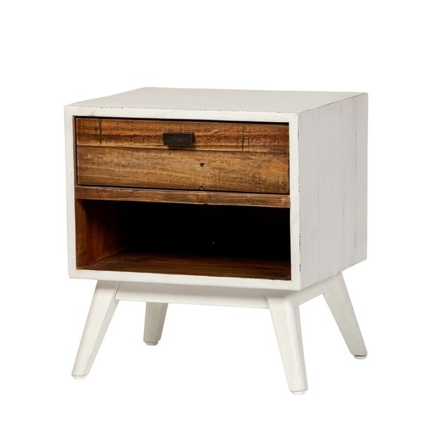 Carson Carrington Ullekaly Farmhouse White 1-drawer Nightstand