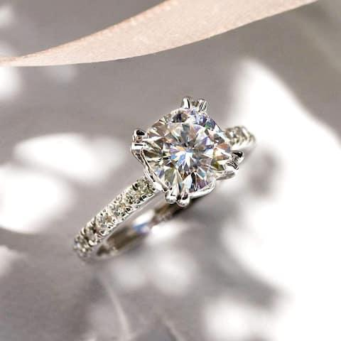 Annello by Kobelli 14k Gold 2-1/2ct TGW Cushion Moissanite and Diamond Tulip Head Engagement Ring (GH/VS, GH/I)