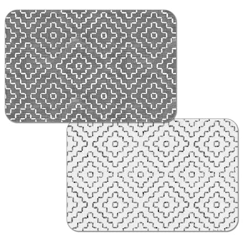 Reversible Wipe-clean Plastic Placemats Set of 4 - Grey Flannel