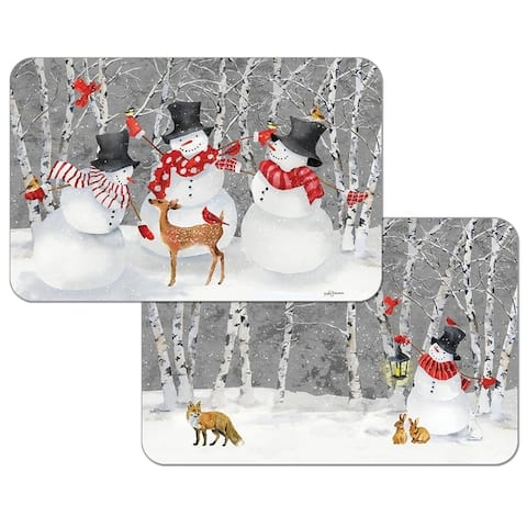 Reversible Wipe-clean Plastic Placemats Set of 4 - Snow Day