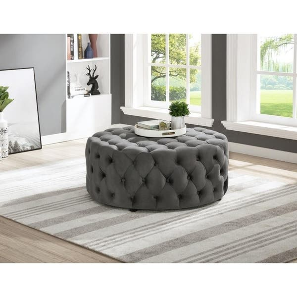 Shop Best Master Furniture Upholstered 40 X 40 Round Tufted Accent