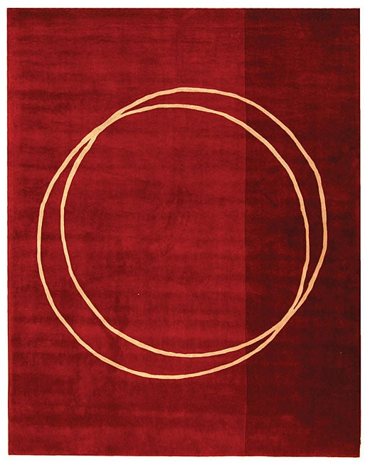 Safavieh Handmade Rodeo Drive Modern Abstract Red/ Ivory Wool Rug (7'6 x 9'6)