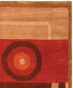 Safavieh Handmade Rodeo Drive Modern Abstract Khaki/ Rust Wool Rug (8' x 11')