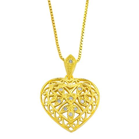 Goldkist 18k Gold over Silver Heart Necklace
