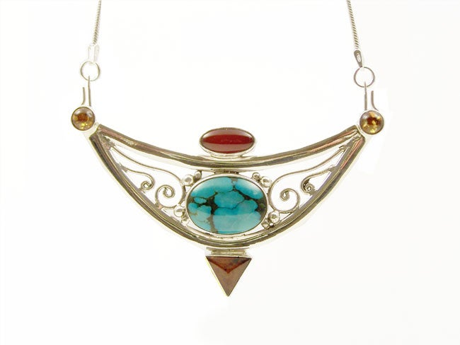 Amber, Carnelian and Turquoise Necklace (Indonesia