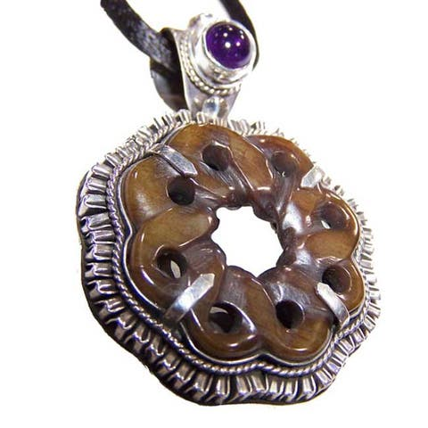 Handmade Amethyst and Serpentine Pendant (Indonesia)