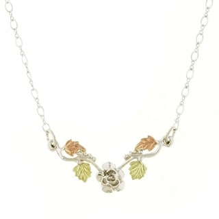 Black Hills Gold and Silver Rose Necklace