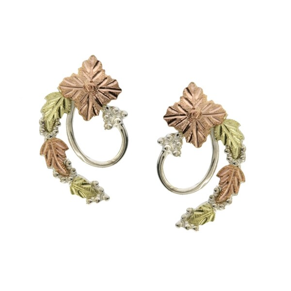 14k Tri-tone Black Hills Gold and Silver Earrings