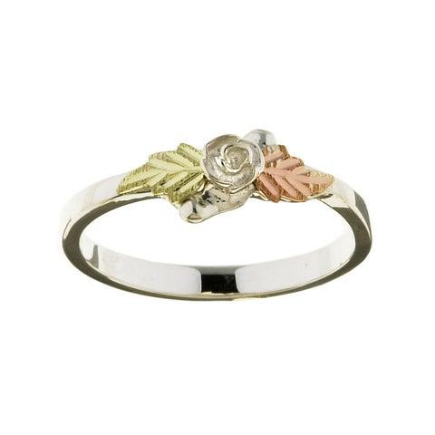 Black Hills Gold on Sterling Silver Rose Ring