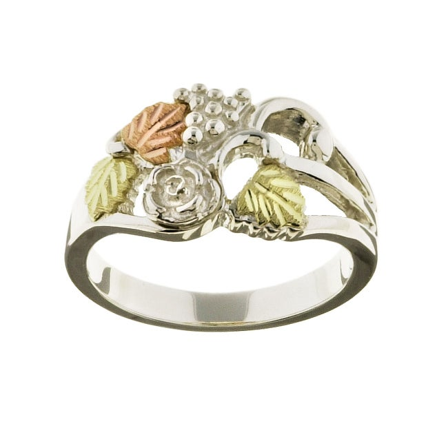 Black Hills Gold and Sterling Silver Flower Ring
