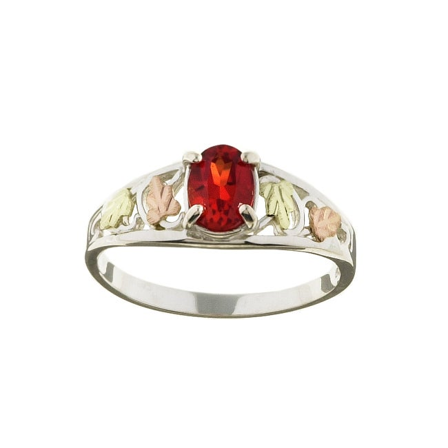 Black Hills Gold and Silver Created Orange Sapphire Ring