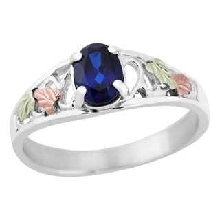 Black Hills Gold and Silver Created Sapphire Ring