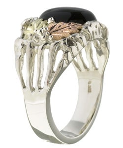 Black Hills Gold and Silver Mens Onyx Ring - Thumbnail 1