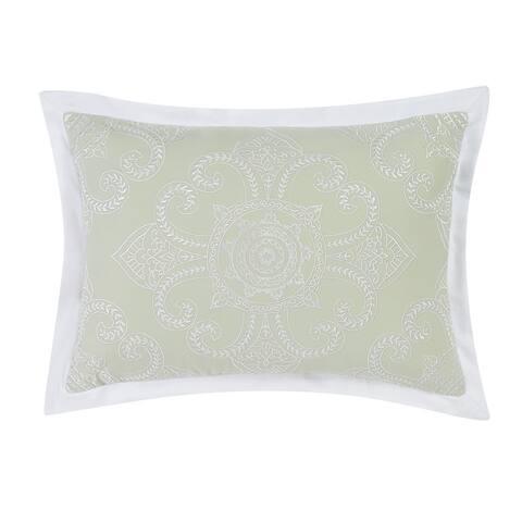 "Charisma Belaire 14"" x 20"" Sage Medallion Embroidered Decorative Pillow"