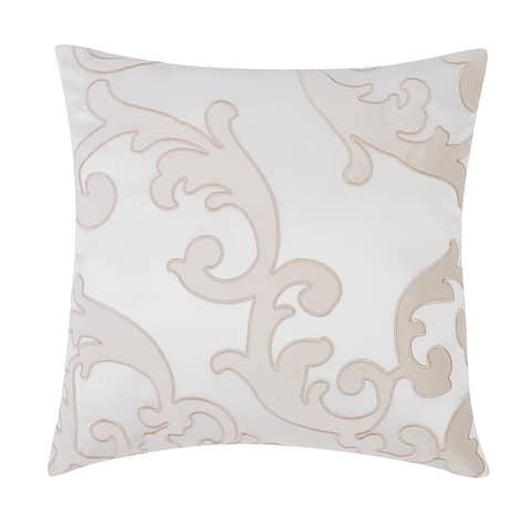 """Charisma Melange Scroll 20"""" Square Embroidered Decorative Pillow"""