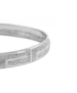 Mondevio Sterling Silver Greek Key Flex Bangle - Thumbnail 1