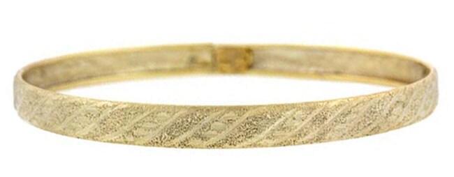Mondevio 18k Gold over Sterling Silver Diamond-cut Bangle