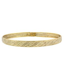 Mondevio 18k Gold over Sterling Silver Diamond-cut Bangle
